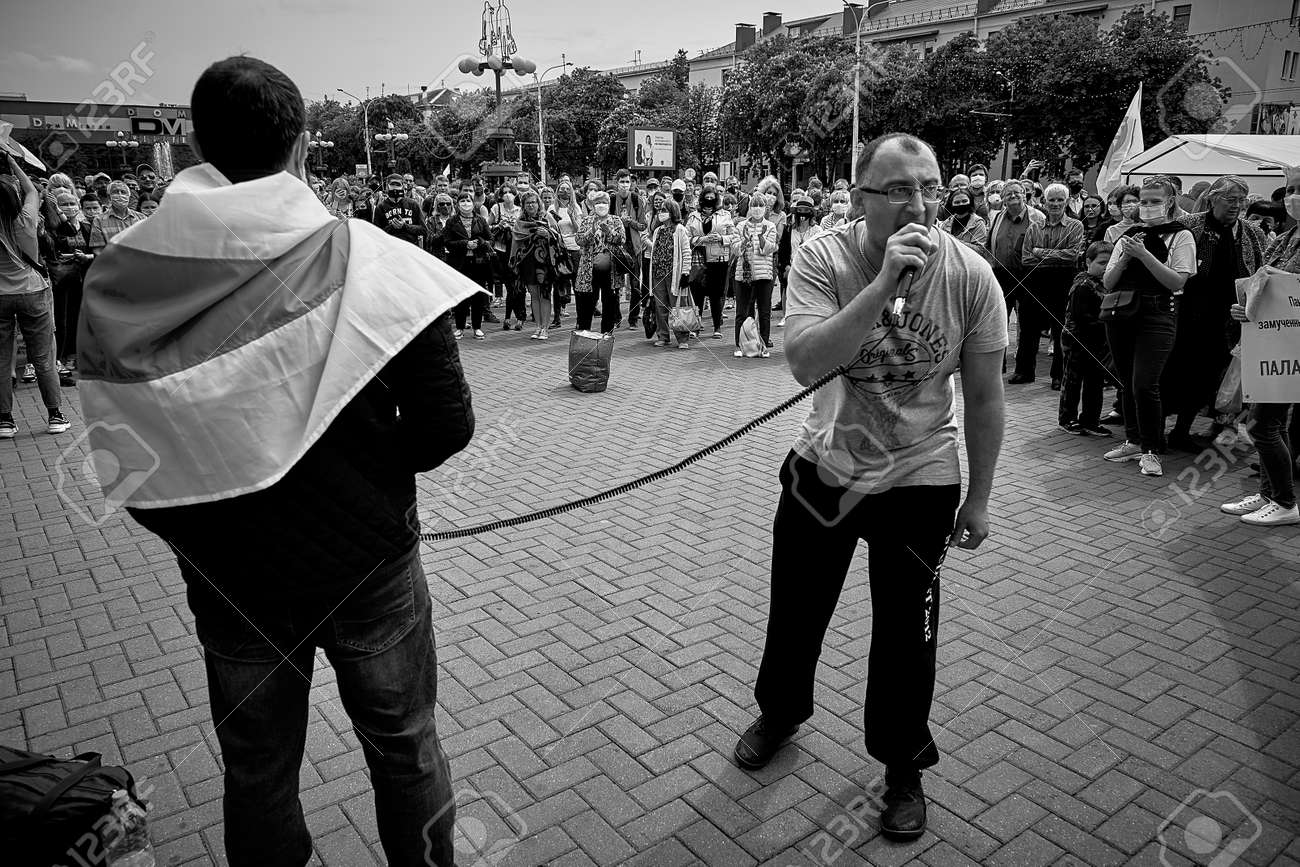 June 7 2020 Minsk Belarus A man with a microphone speaks for people who are fighting against the arbitrariness of the authorities - 151307339