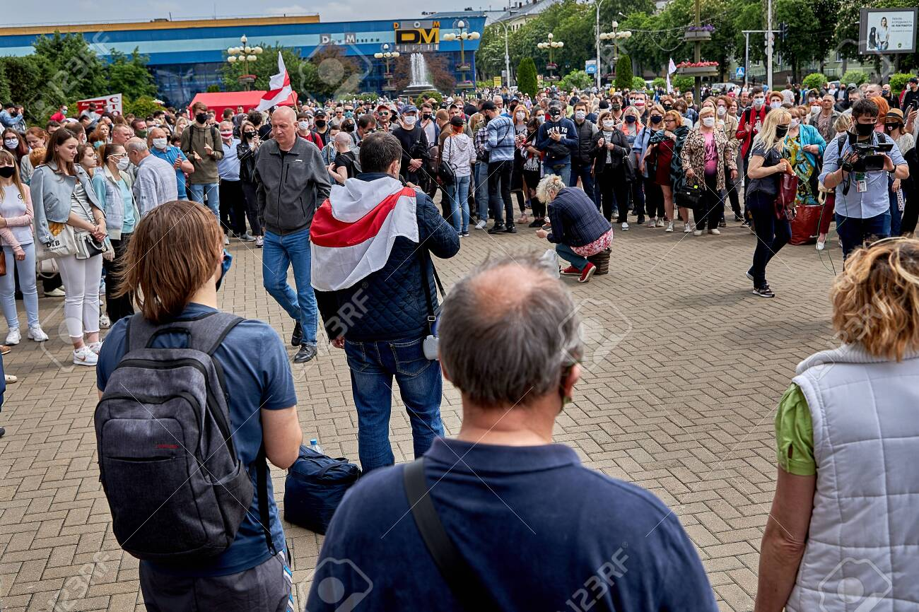June 7 2020 Minsk Belarus A rally where a woman collect money in a cellophane bag - 151307343