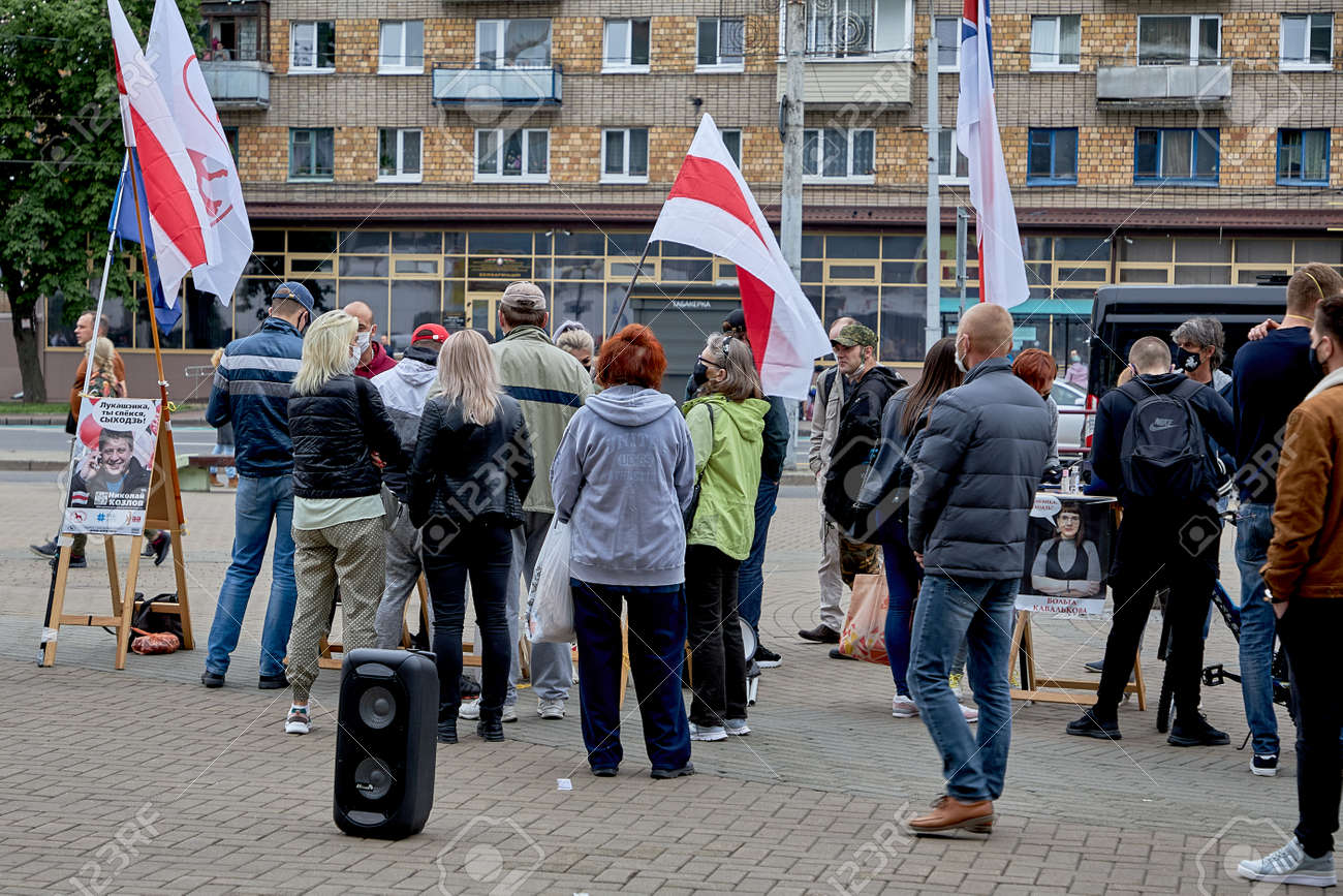 June 14 2020 Minsk Belarus The people vote for the opposition candidate for the post of President of the Republic of Belarus - 151378209