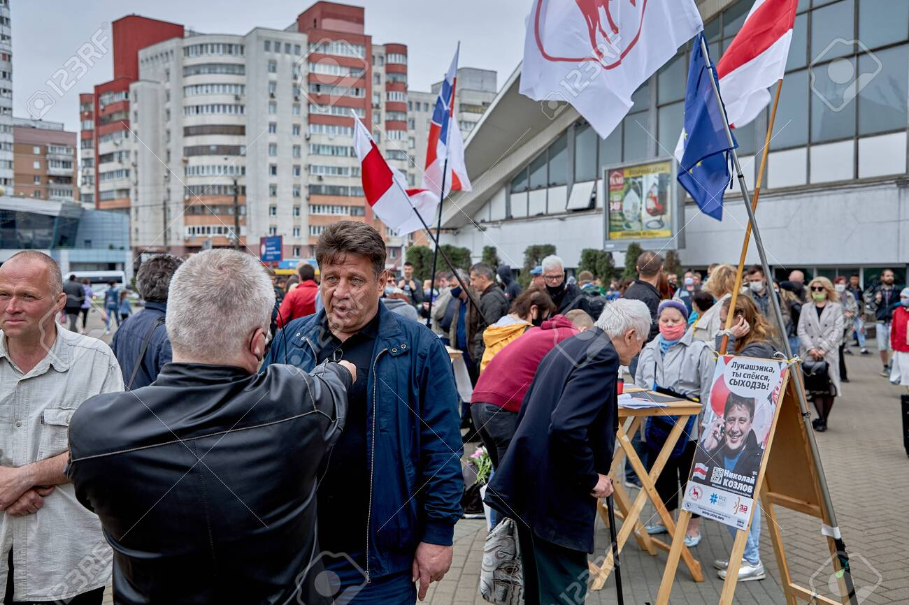 June 14 2020 Minsk Belarus Possible presidential candidate Nikolai Kozlov answers blogger's questions - 151378210