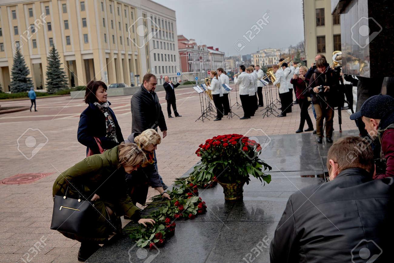 November 7, 2019 Minsk Belarus Anniversary of the communist revolution near the monument to Lenin - 156649707