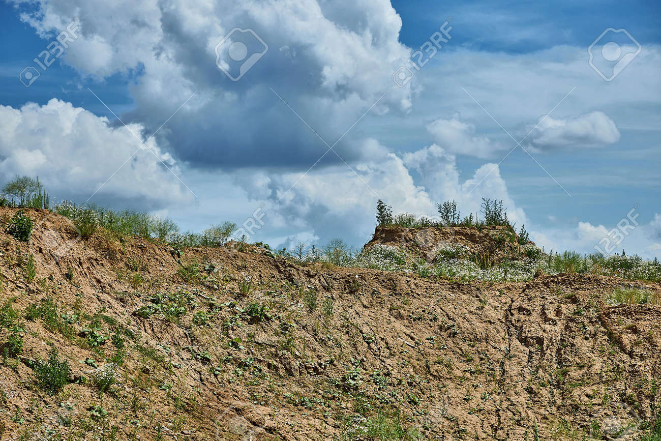 Wild land in front of a blue sky - 163142914