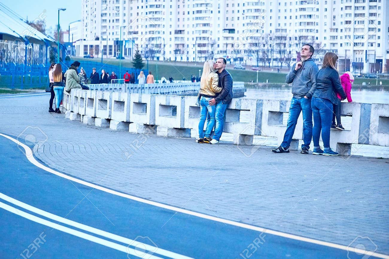 October 19, 2019 Minsk Belarus People walking along the embankment - 163033788