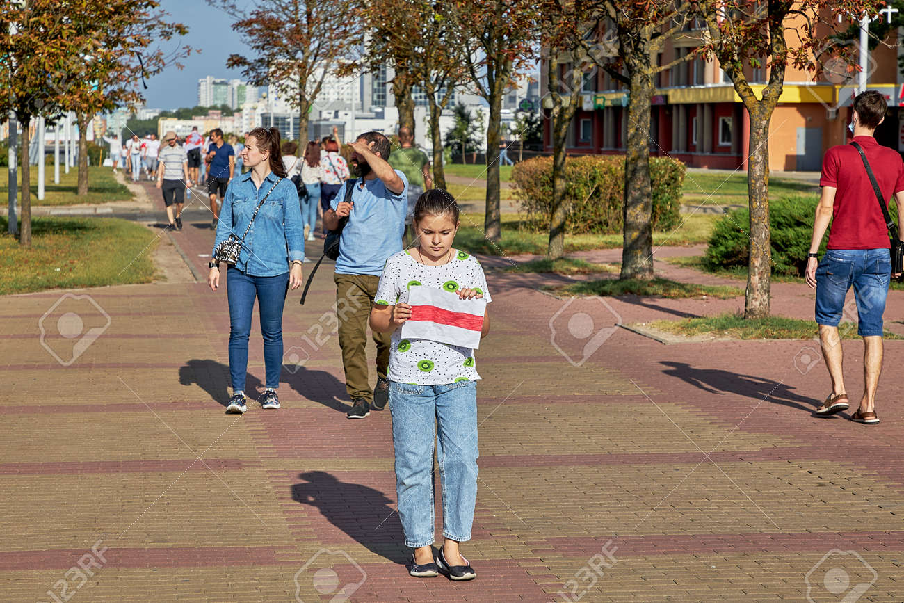 August 15 2020 Minsk Belarus Many people stand by the roadside to protest against violence - 166895027