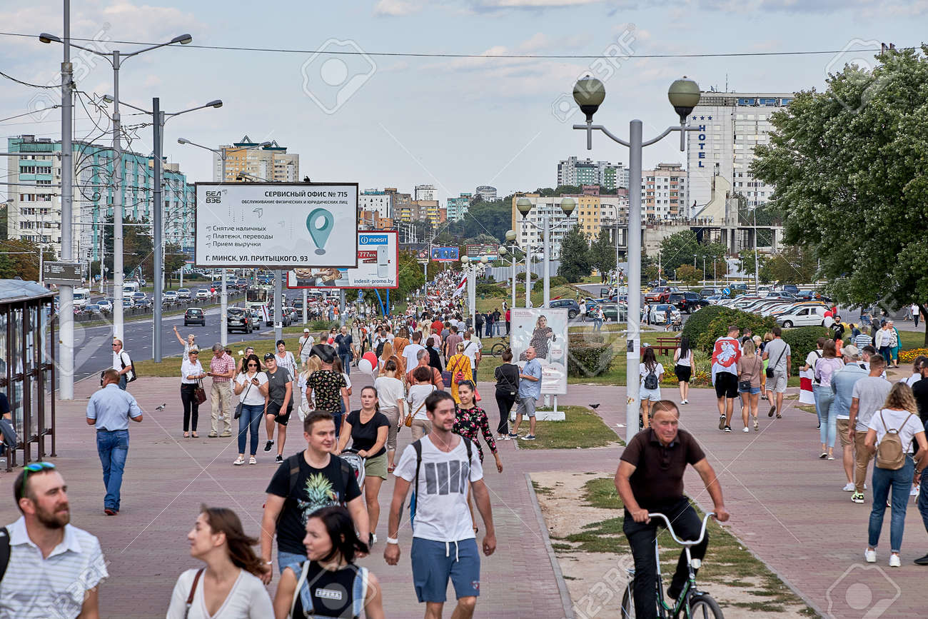 August 15 2020 Minsk Belarus Many people stand by the roadside to protest against violence - 166895011