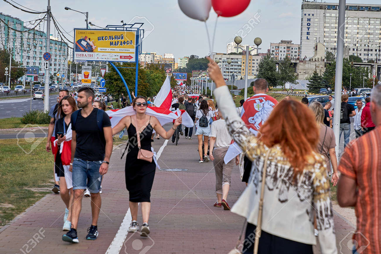 August 15 2020 Minsk Belarus Many people stand by the roadside to protest against violence - 166895009