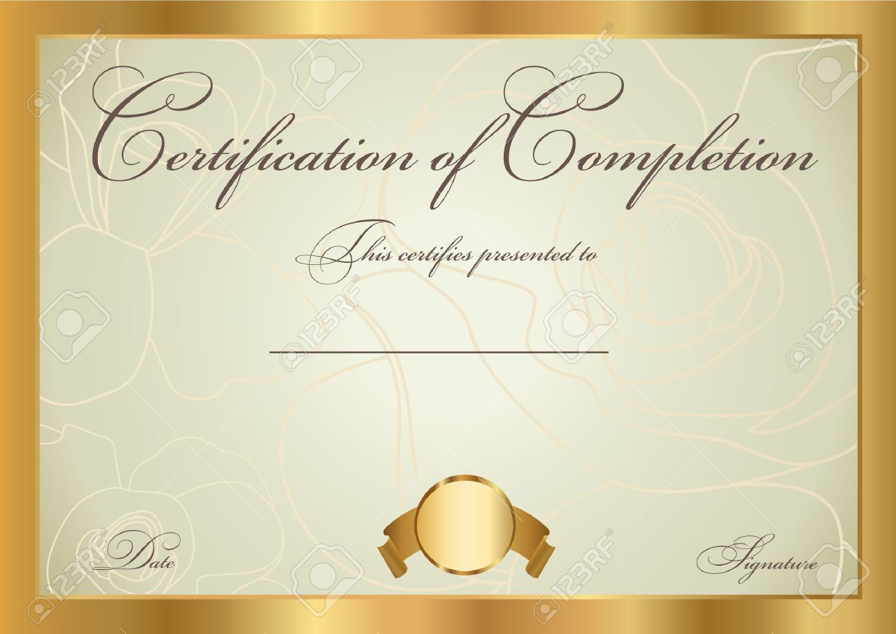 Certificate Of Completion Template Vector Royalty Free Cliparts – Blank Certificate of Completion Templates Free