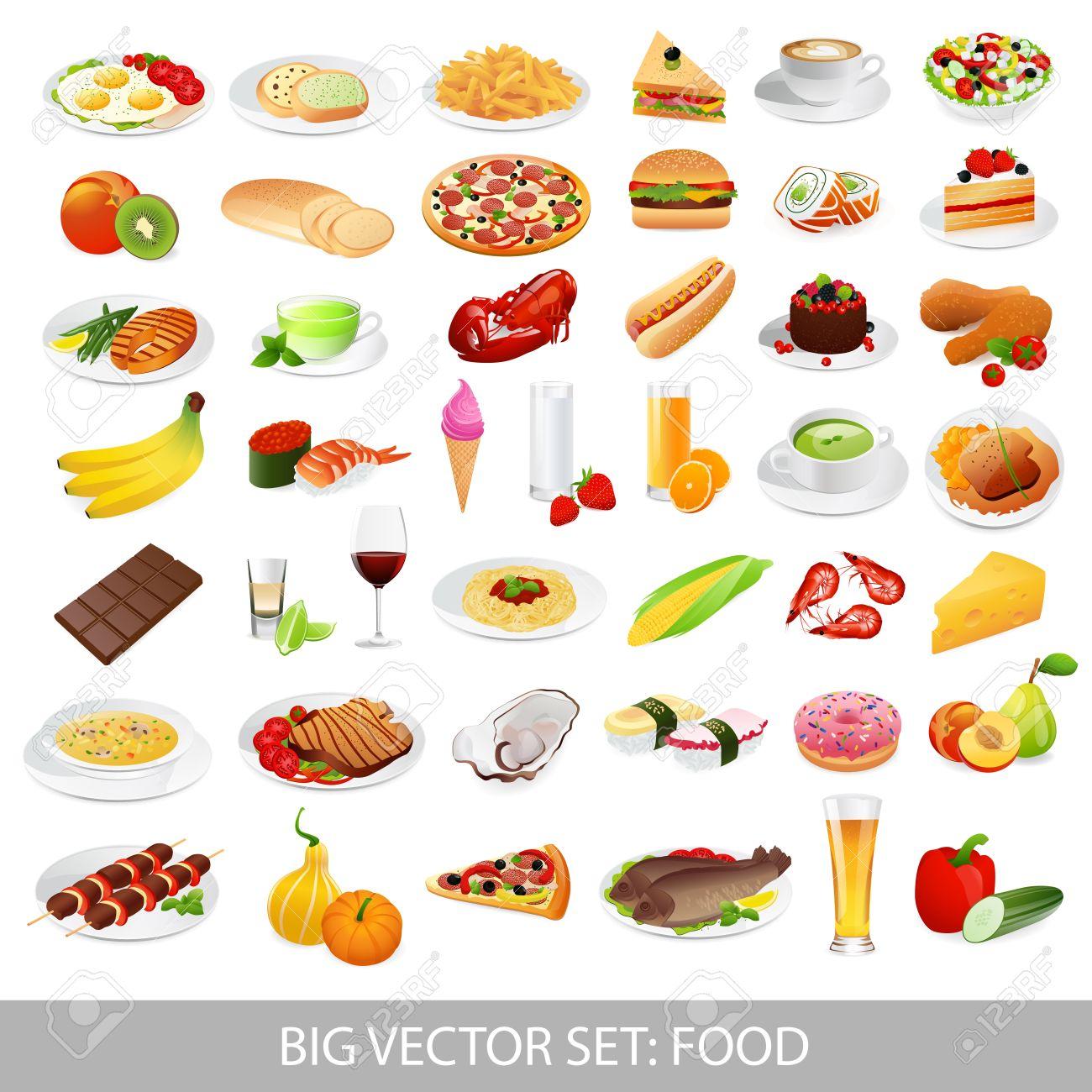 大きなベクトル設定食品様々 なおいしい料理 - 詳細なイラスト