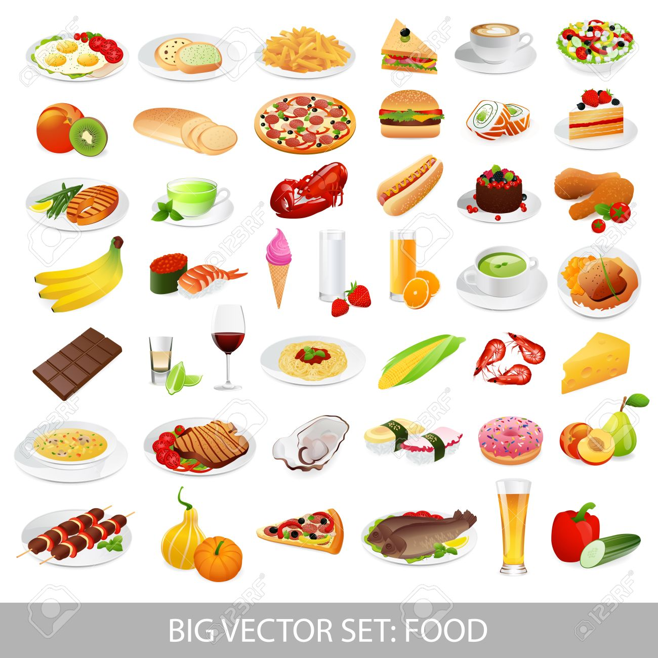 Big vector set  food  various delicious dishes  - detailed illustrations Stock Vector - 12489658