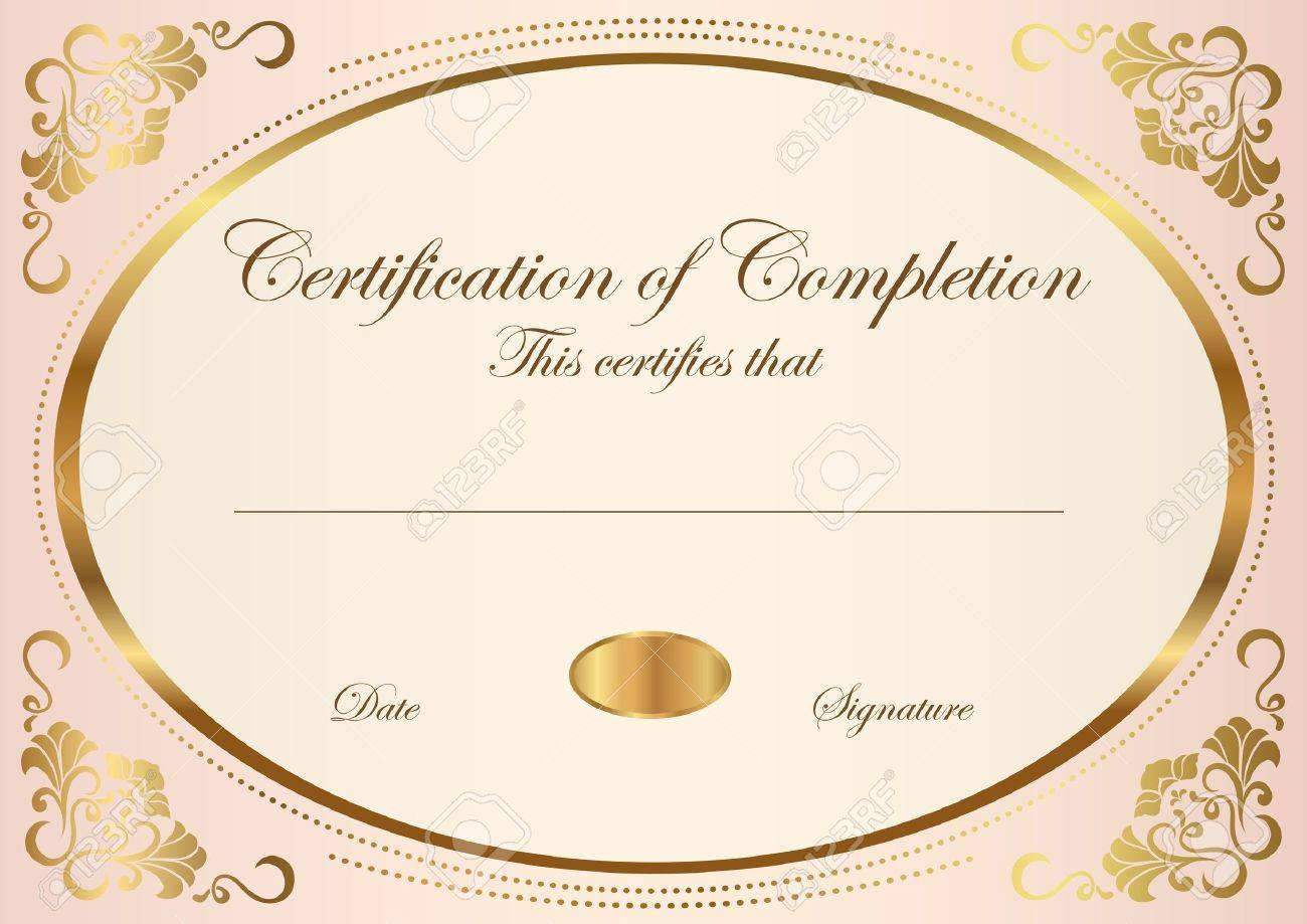 Certificate Of Completion Template Vector Royalty Free Cliparts – Certification of Completion Template