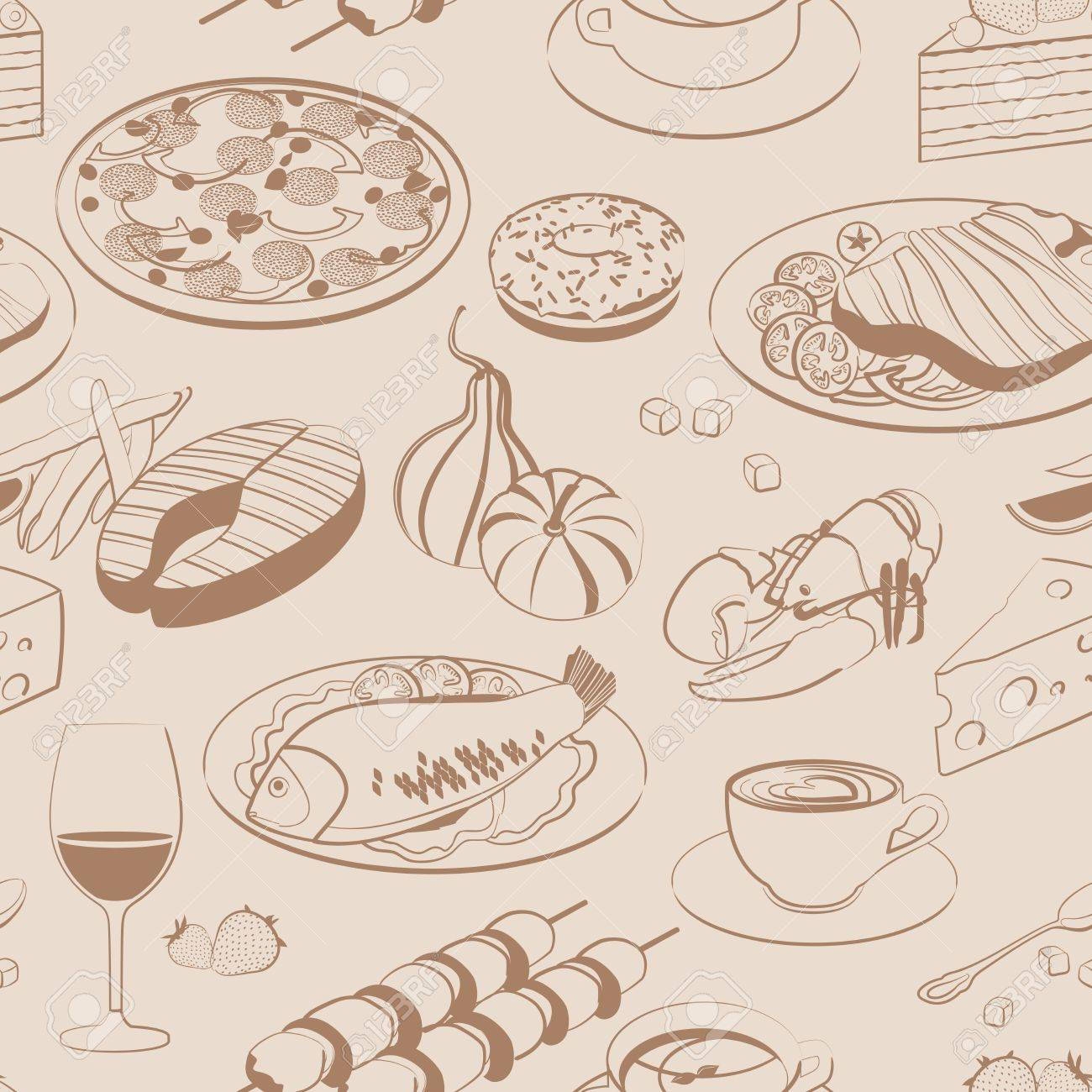 Seamless pattern of food Stock Vector - 12489561