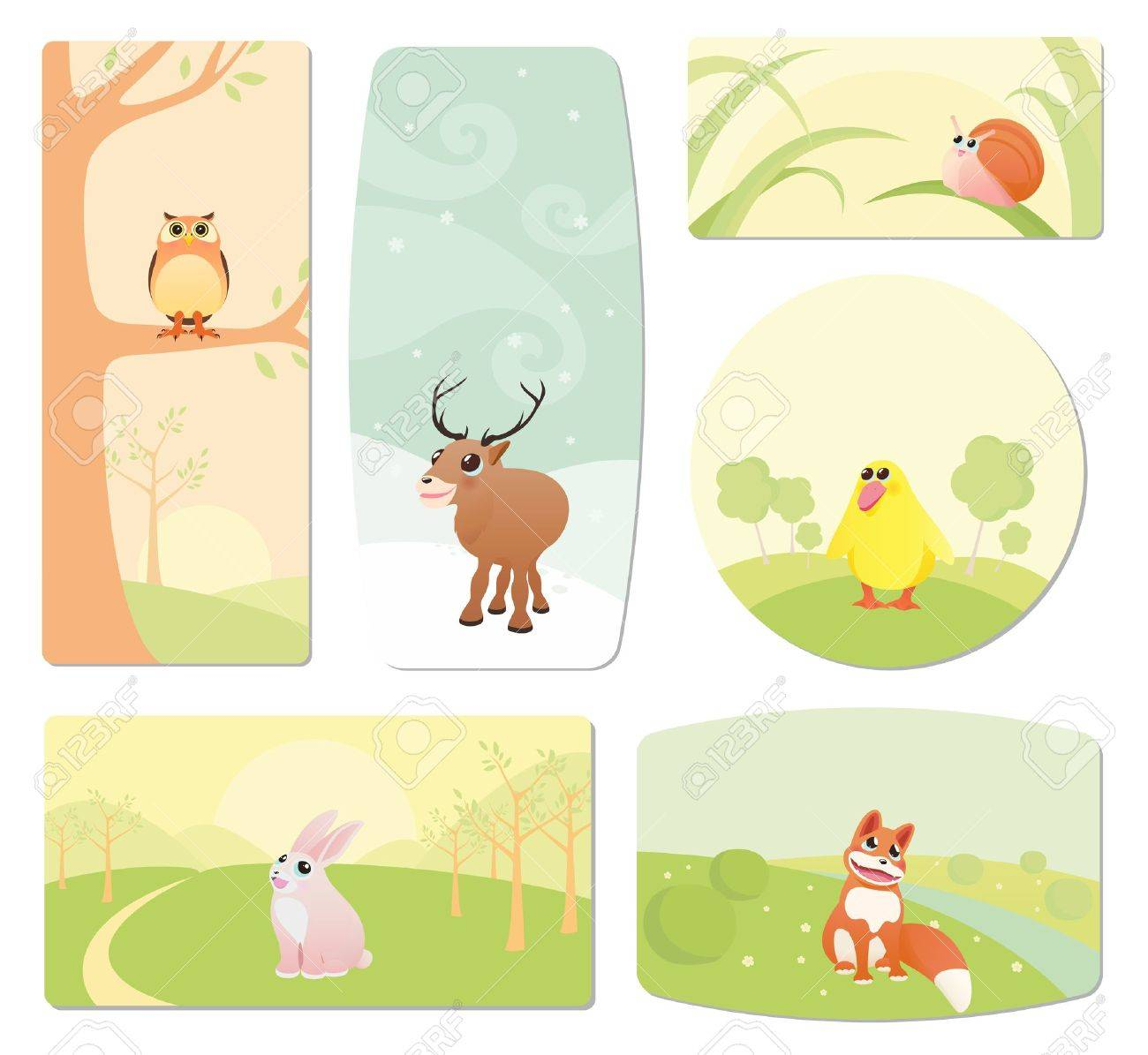 Baby labels with cartoon animals Stock Vector - 12489607