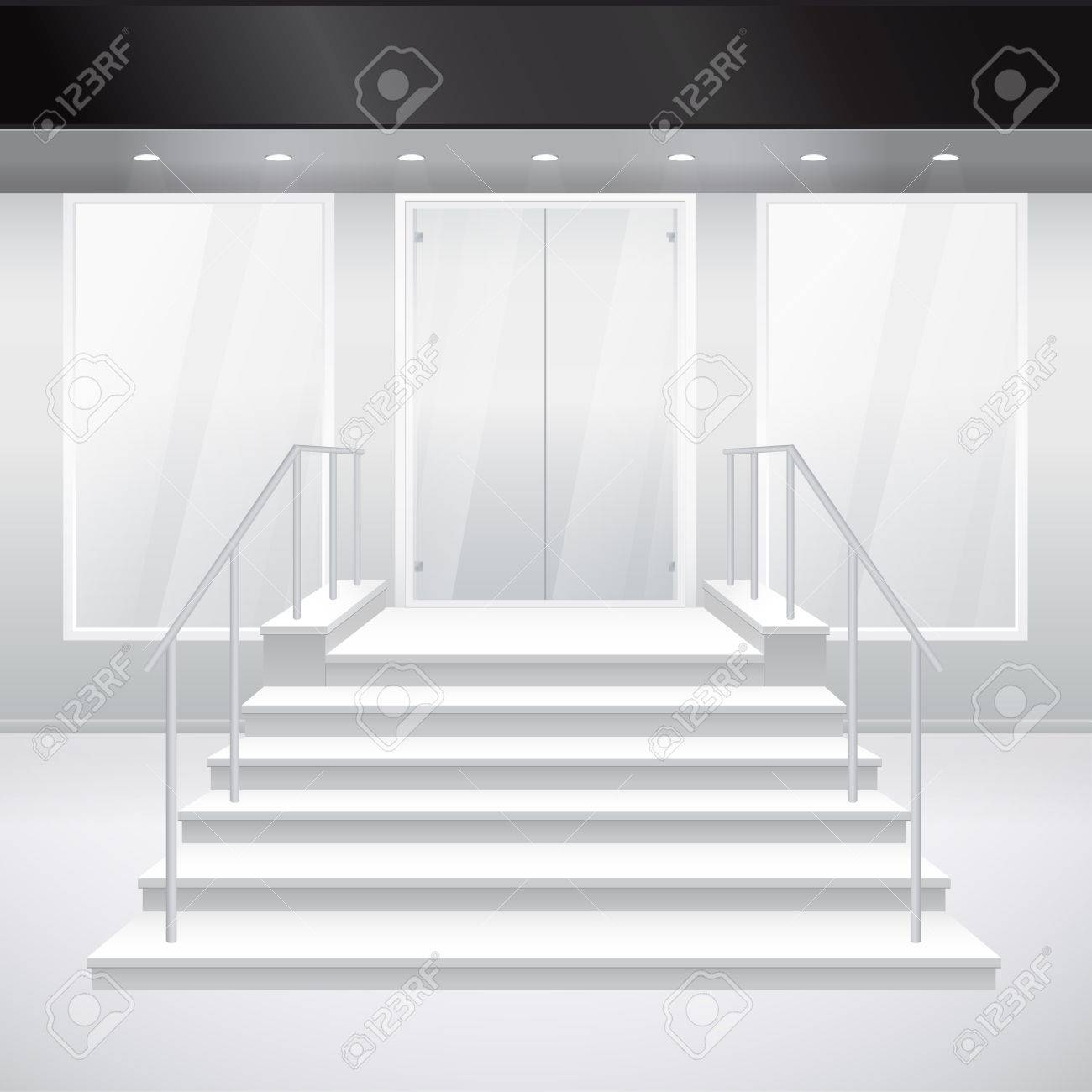 Entry to shop with stairs. Vector illustration of entrance to building. Exterior of store in gray color Stock Vector - 13842099
