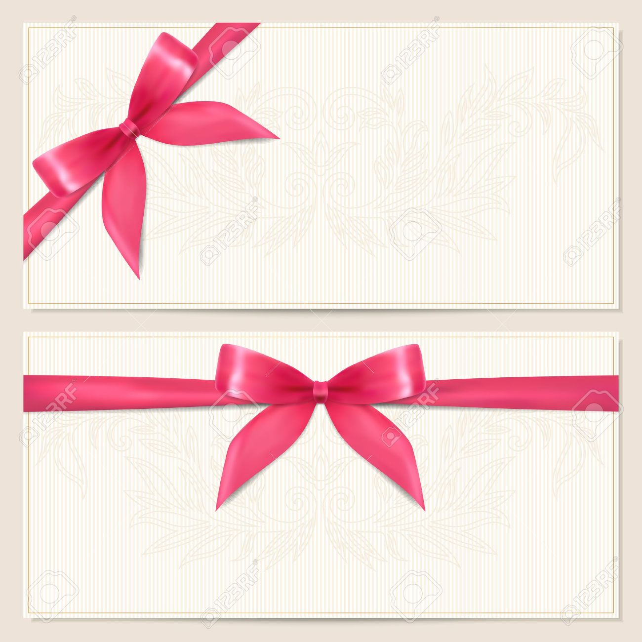 voucher template with floral pattern border and gift red bow