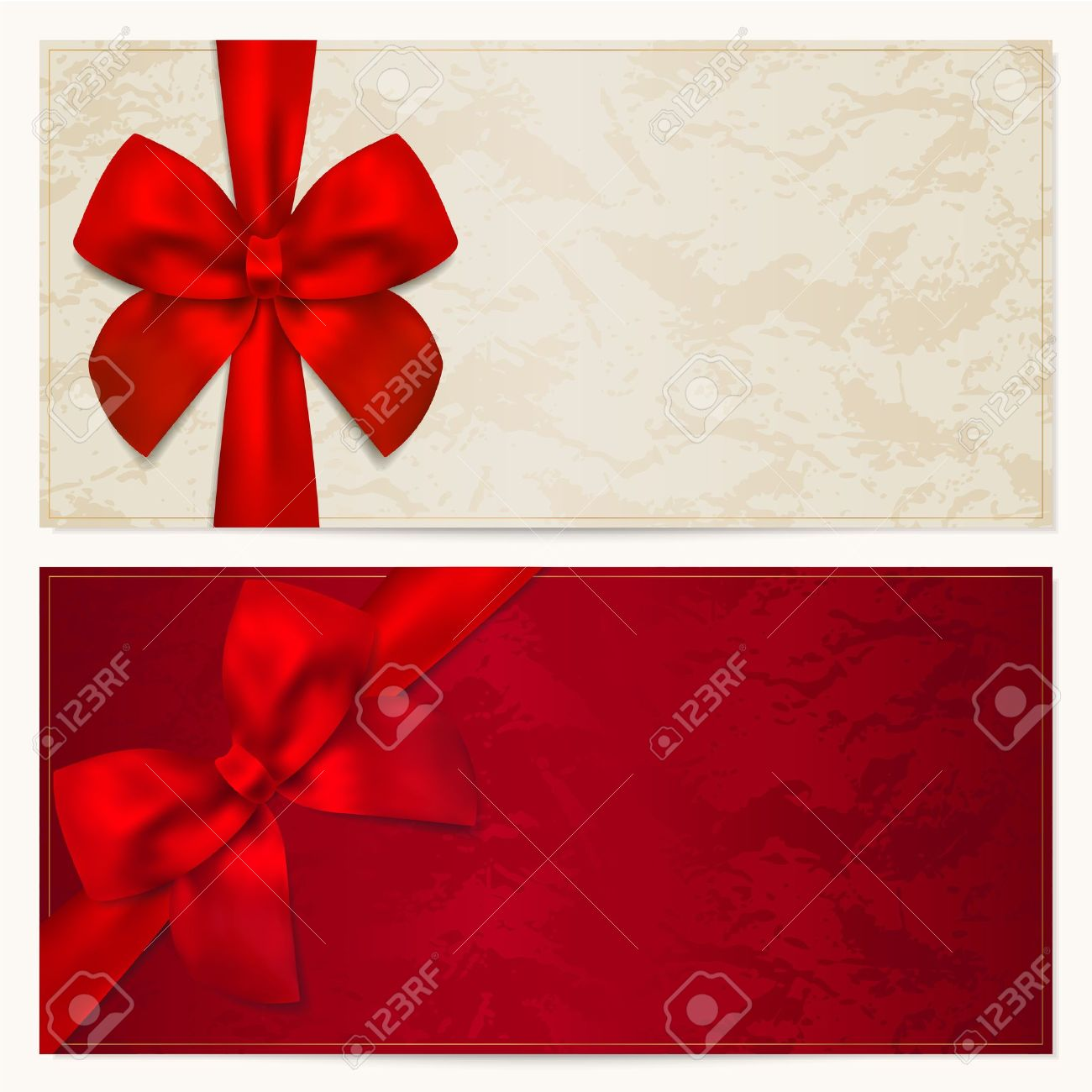 voucher template floral pattern border and gift red bow vector voucher template floral pattern border and gift red bow ribbons this background design usable for gift voucher coupon invitation