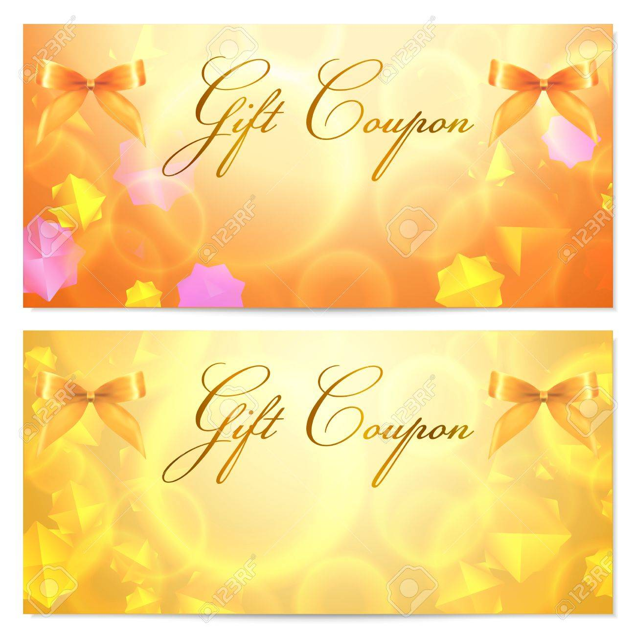 gift coupon template abstract stars pattern and bow ribbons gift coupon template abstract stars pattern and bow ribbons stock vector 17801708