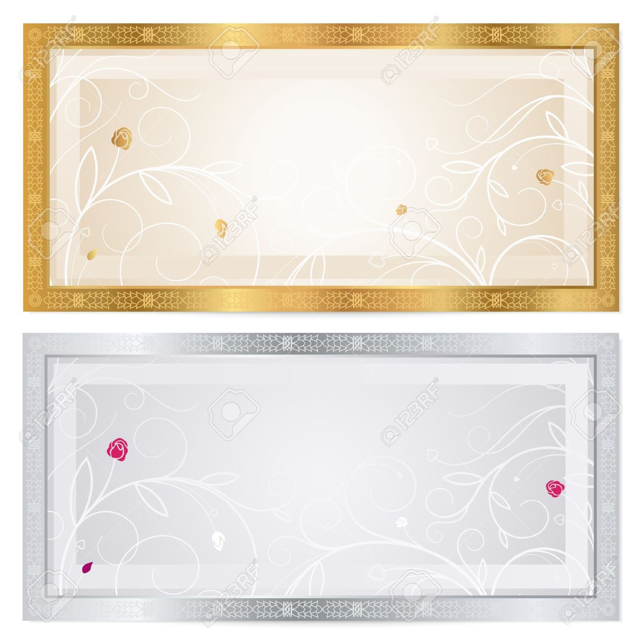 Voucher Template With Floral Pattern, Watermark And Border. This Background  Design Usable For Gift  Check Voucher Template