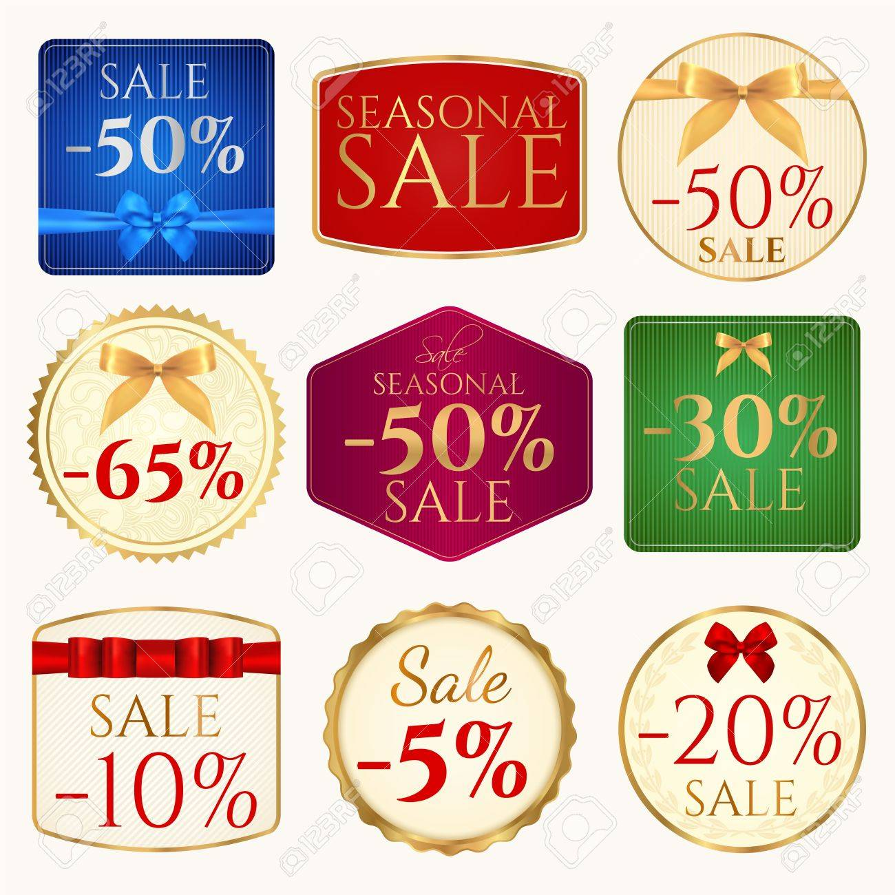 vector set colorful sale banner coupon or tag template with
