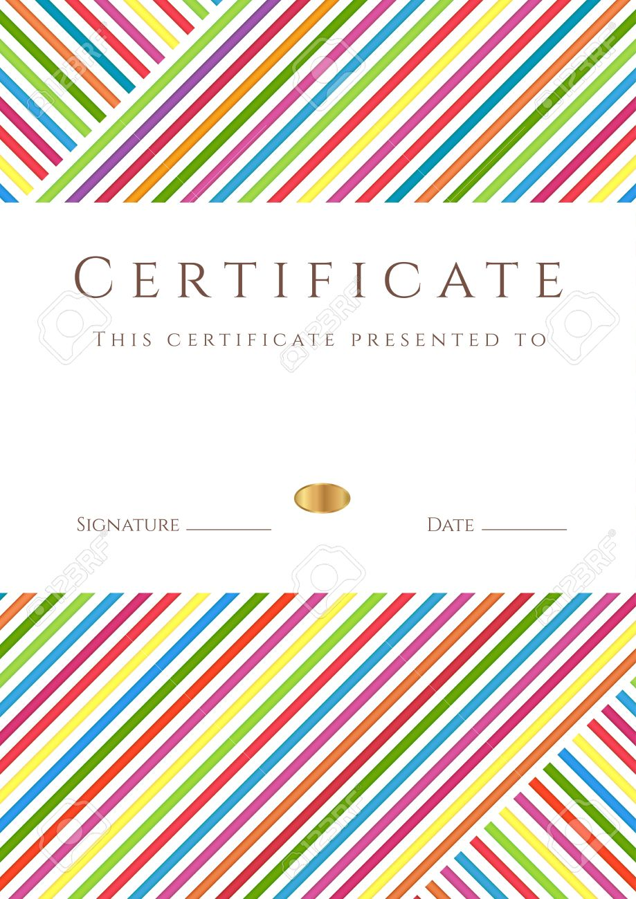 Vertical Certificate Of Pletion Template With Colorful Stripy