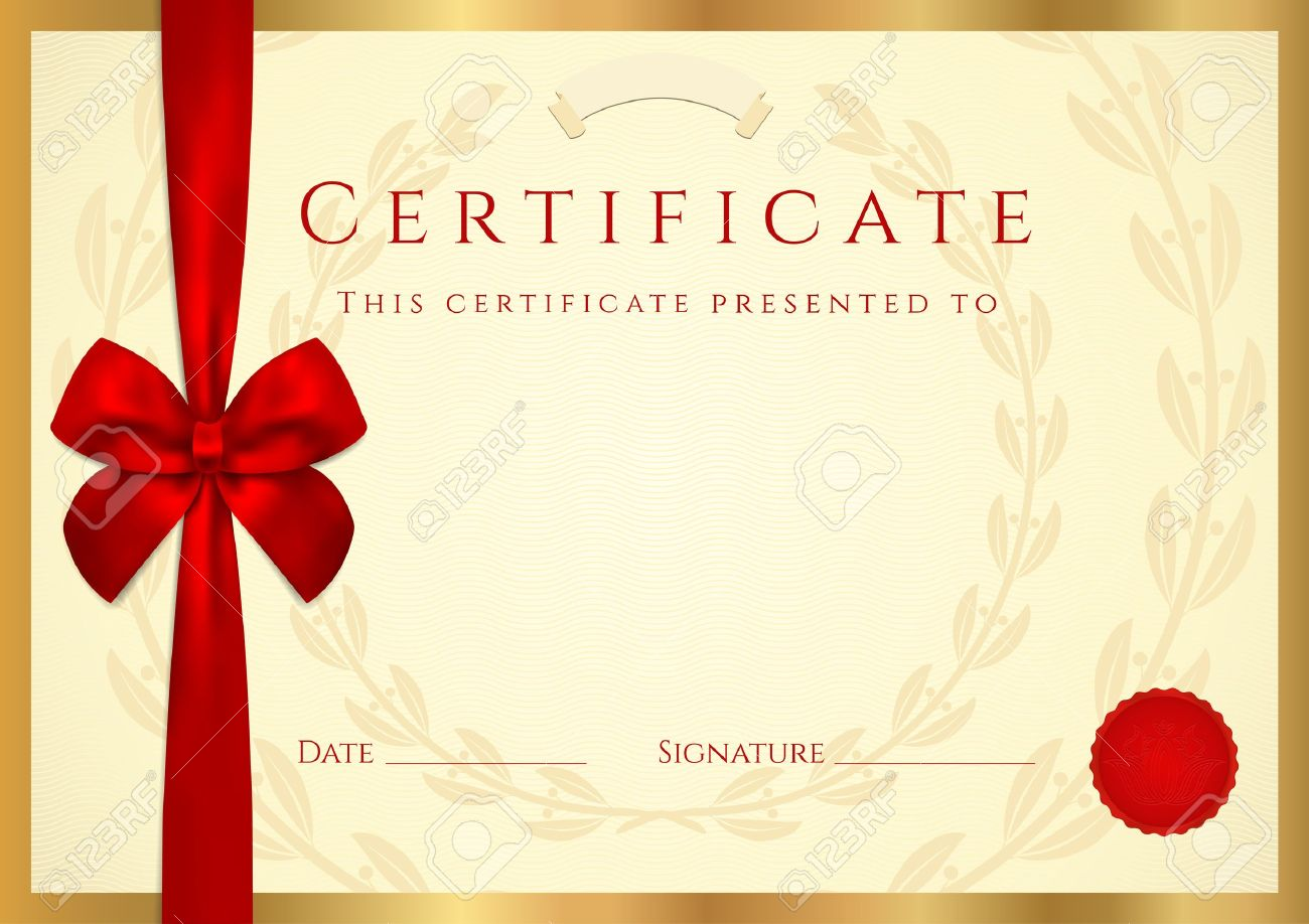 Certificate of completion template with wax seal border and certificate of completion template with wax seal border and red bow ribbon yadclub Gallery