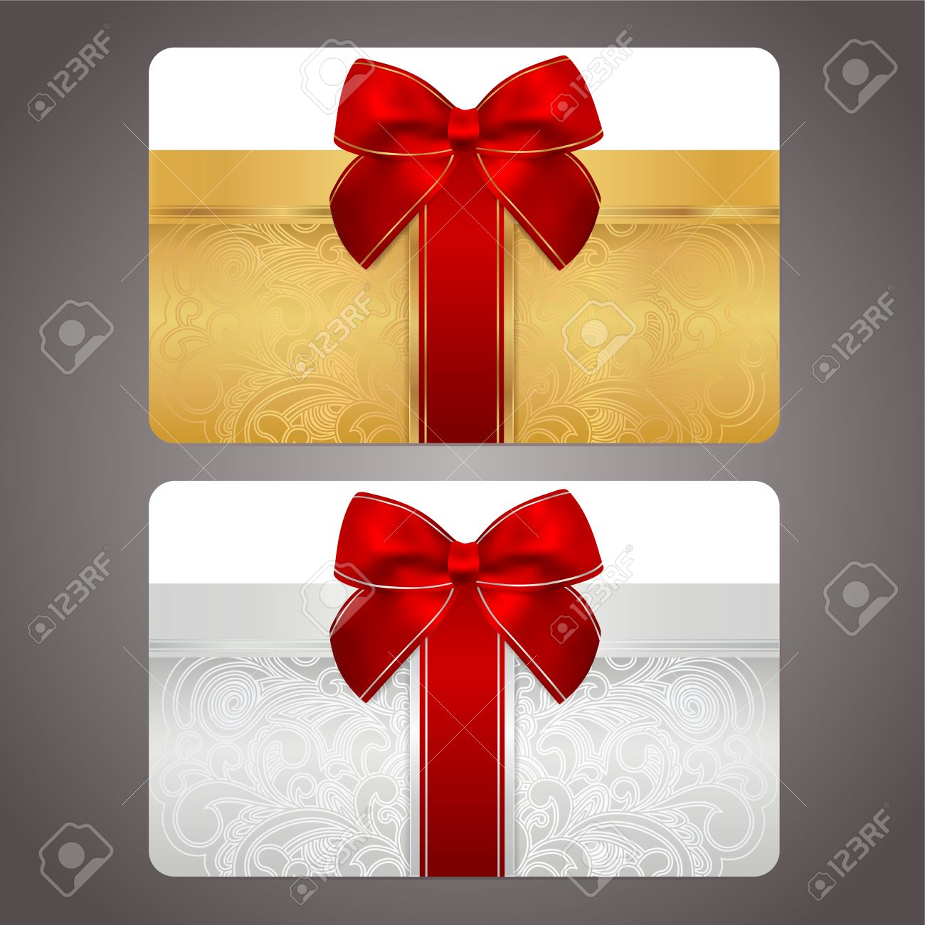 Golden and silver gift card  discount card  with gift box and red bow  ribbons   This background design usable for gift coupon, voucher, invitation, ticket etc  Vector Stock Vector - 18956609