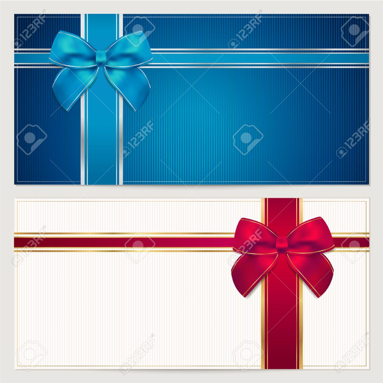 Gift Card Template With Corrugated Texture Border And Blue And