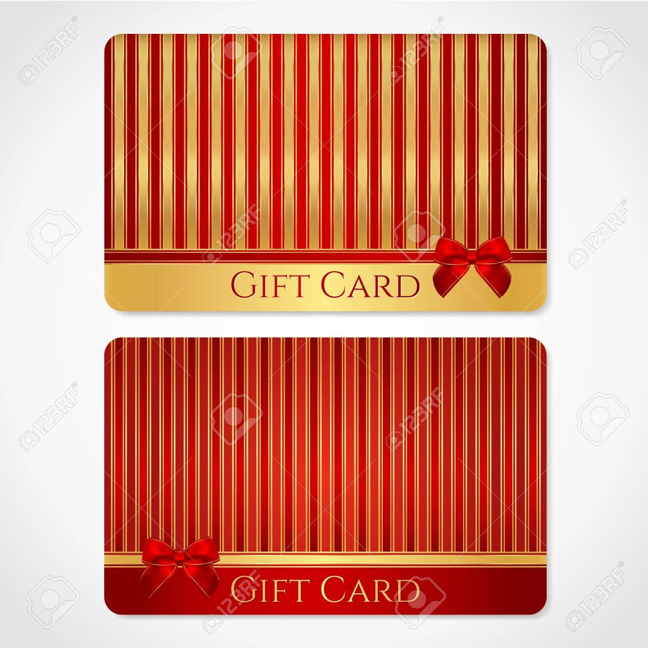 Design of discount card - Red And Gold Gift Card Discount Card With Stripy Pattern And Red Bow Ribbons This Background