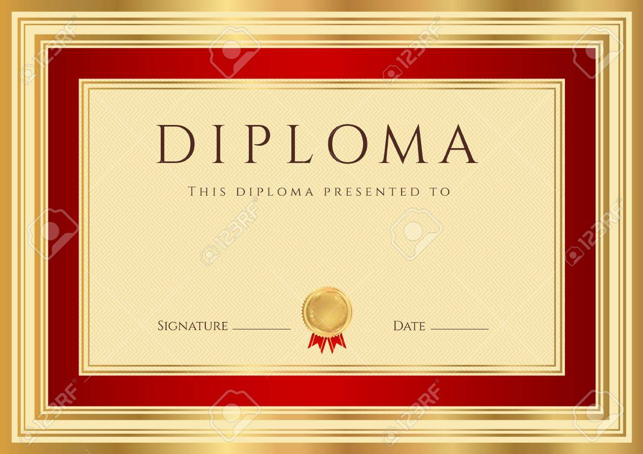 Horizontal Diploma Or Certificate Template With Guilloche Pattern ...