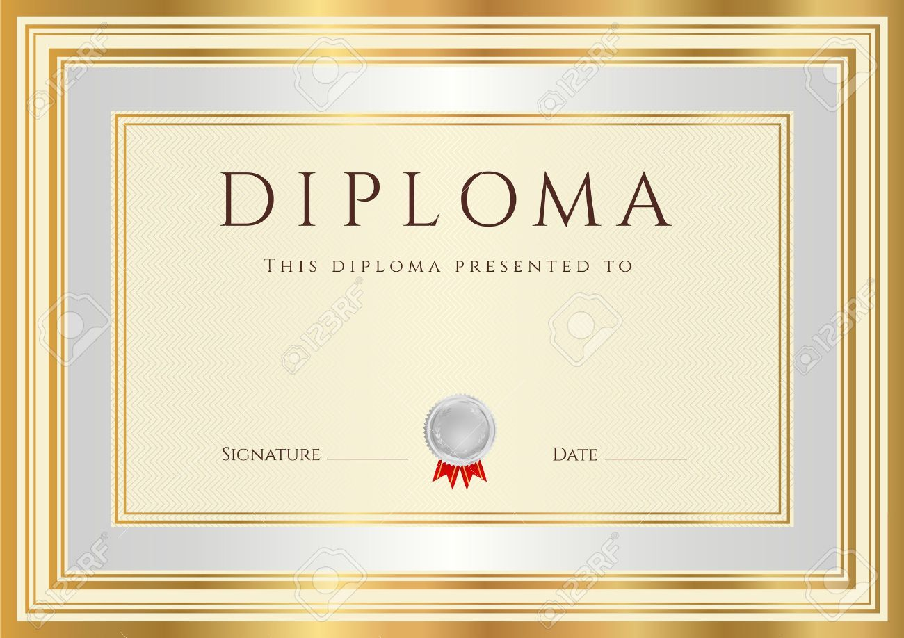 Horizontal Diploma Or Certificate Template With Guilloche Pattern – Official Certificate Template