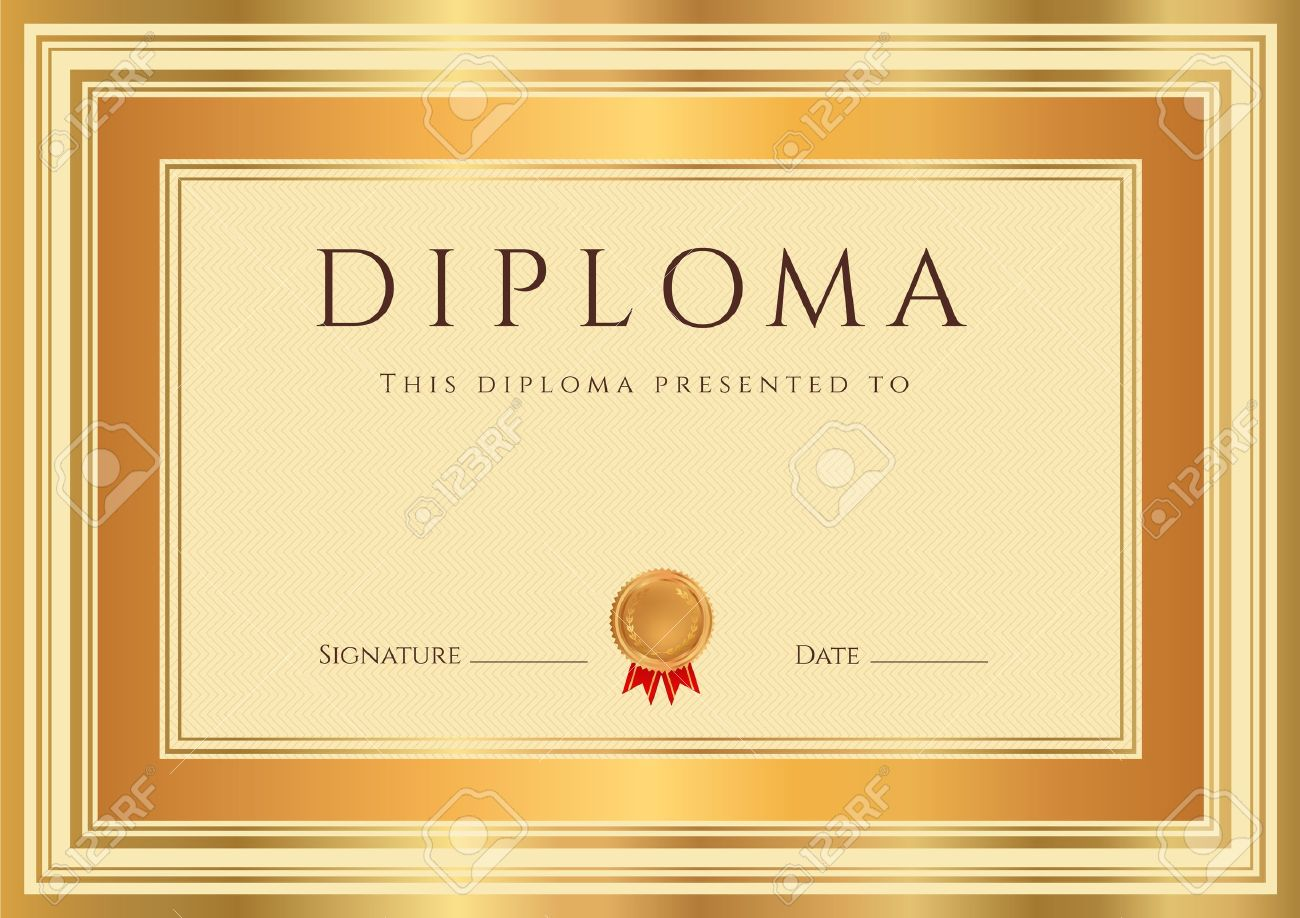 Horizontal Diploma Or Certificate Template With Guilloche Pattern  Watermarks , Bronze And Gold Border This Background  Official Certificate Template
