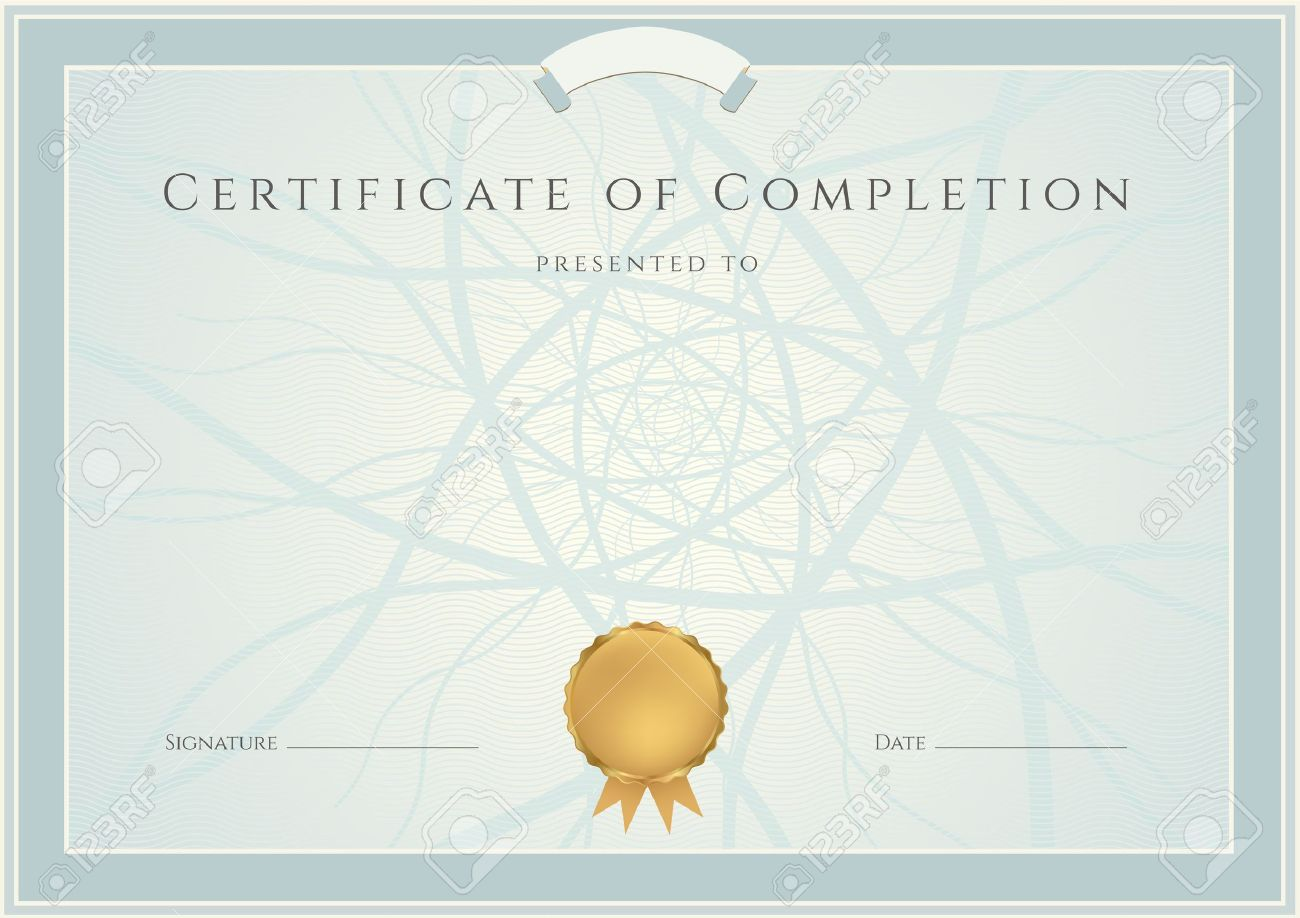 Blank certificates of completion jcmanagement horizontal blue certificate of completion template with guilloche yelopaper Gallery