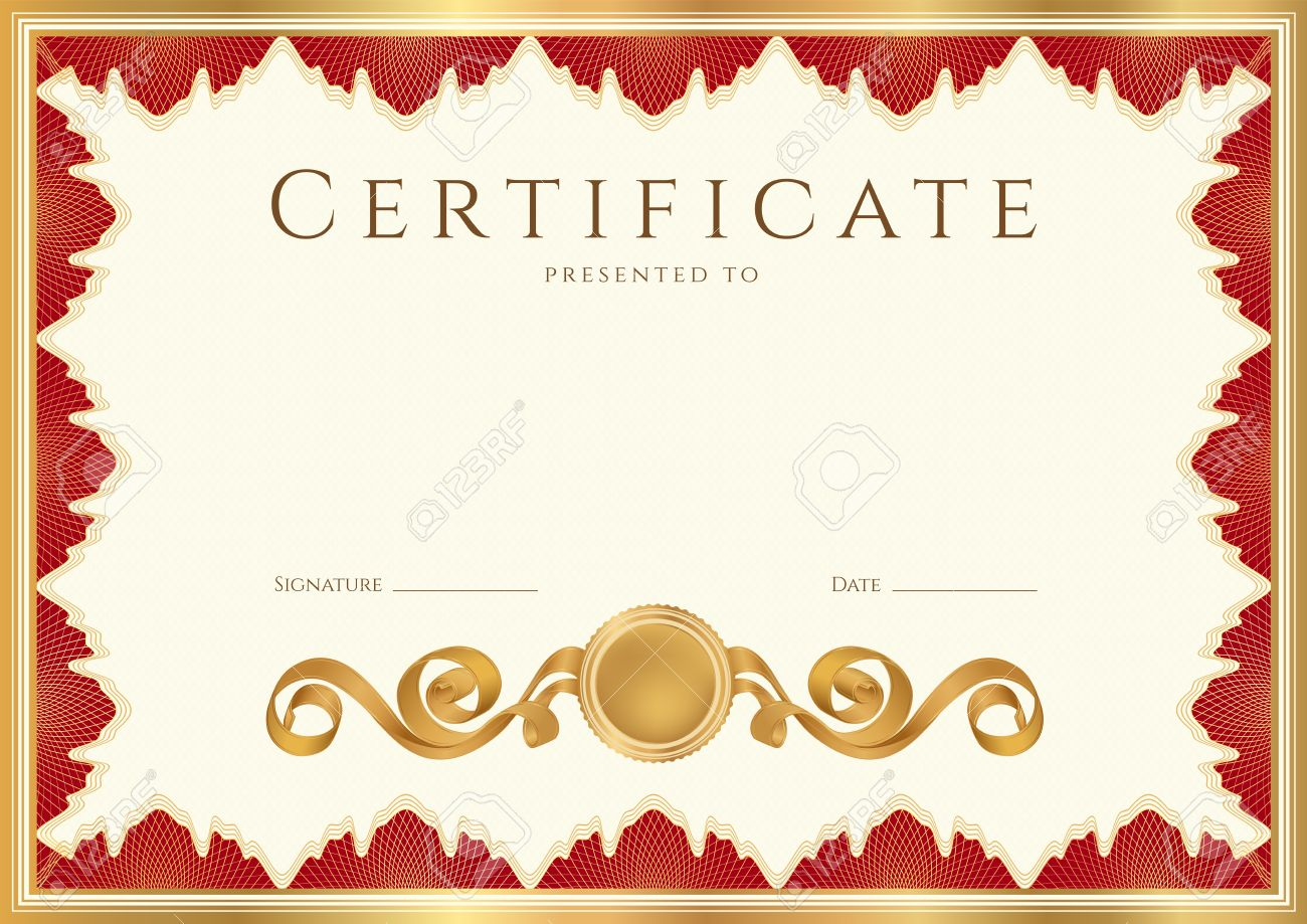Horizontal Certificate Of Completion Template With Guilloche – Official Certificate Template