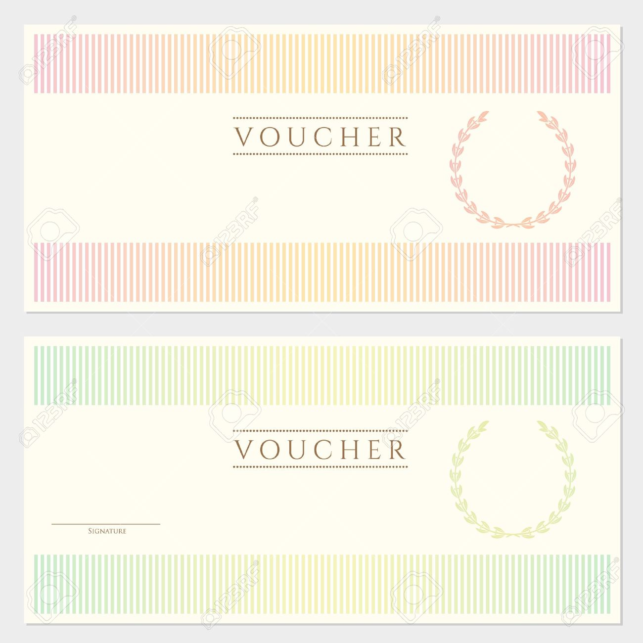 Voucher Template With Colorful Stripy Pattern And Border This – Money Voucher Template