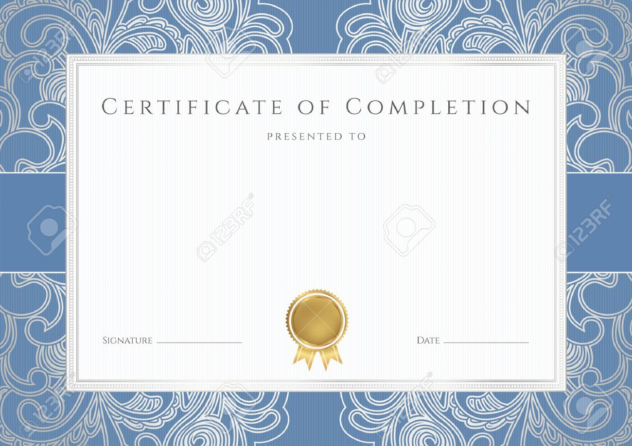 Horizontal Certificate Of Completion Template With Floral Pattern ...