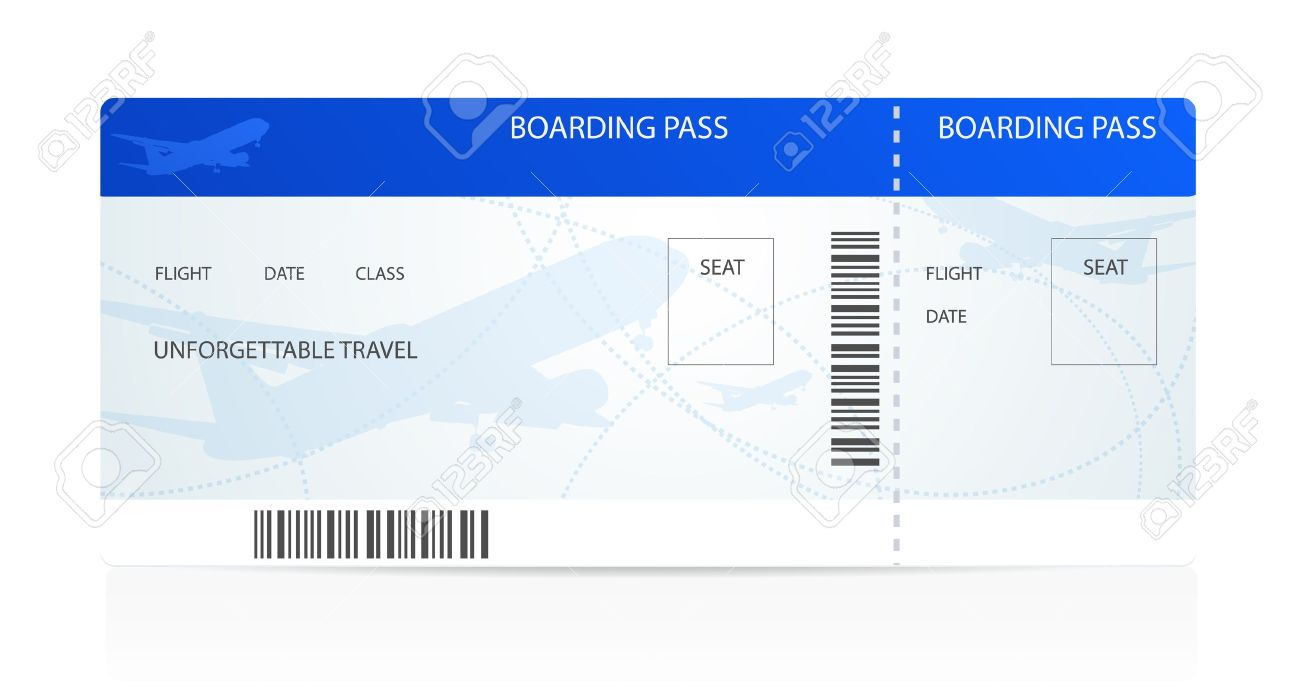 Blue Boarding Pass Ticket With Aircraft Airplane Or Plane