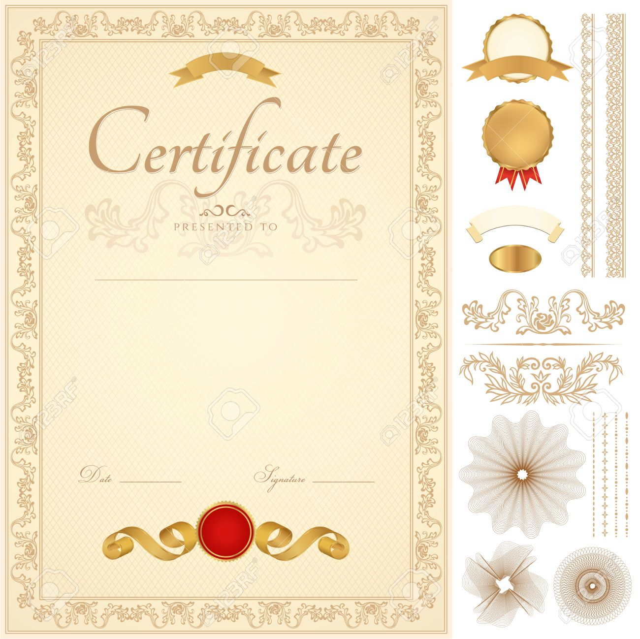 Vertical Yellow Certificate Of Completion template With – Official Certificate Template