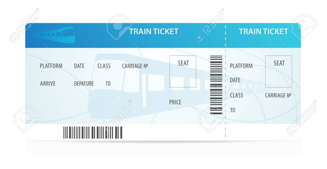 Train ticket tamplate (layout) with train silhouette on background. Travel by Railway Transport. Enjoy your vacation. Isolated illustration on white background - 19374809