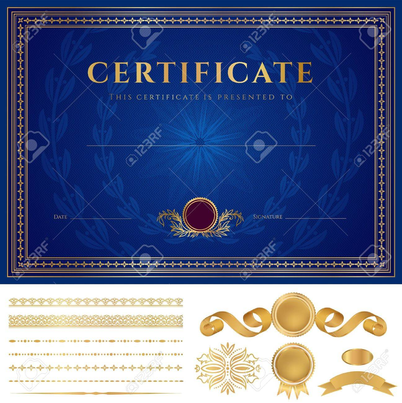 Horizontal Blue Certificate Of Completion Template With Guilloche ...