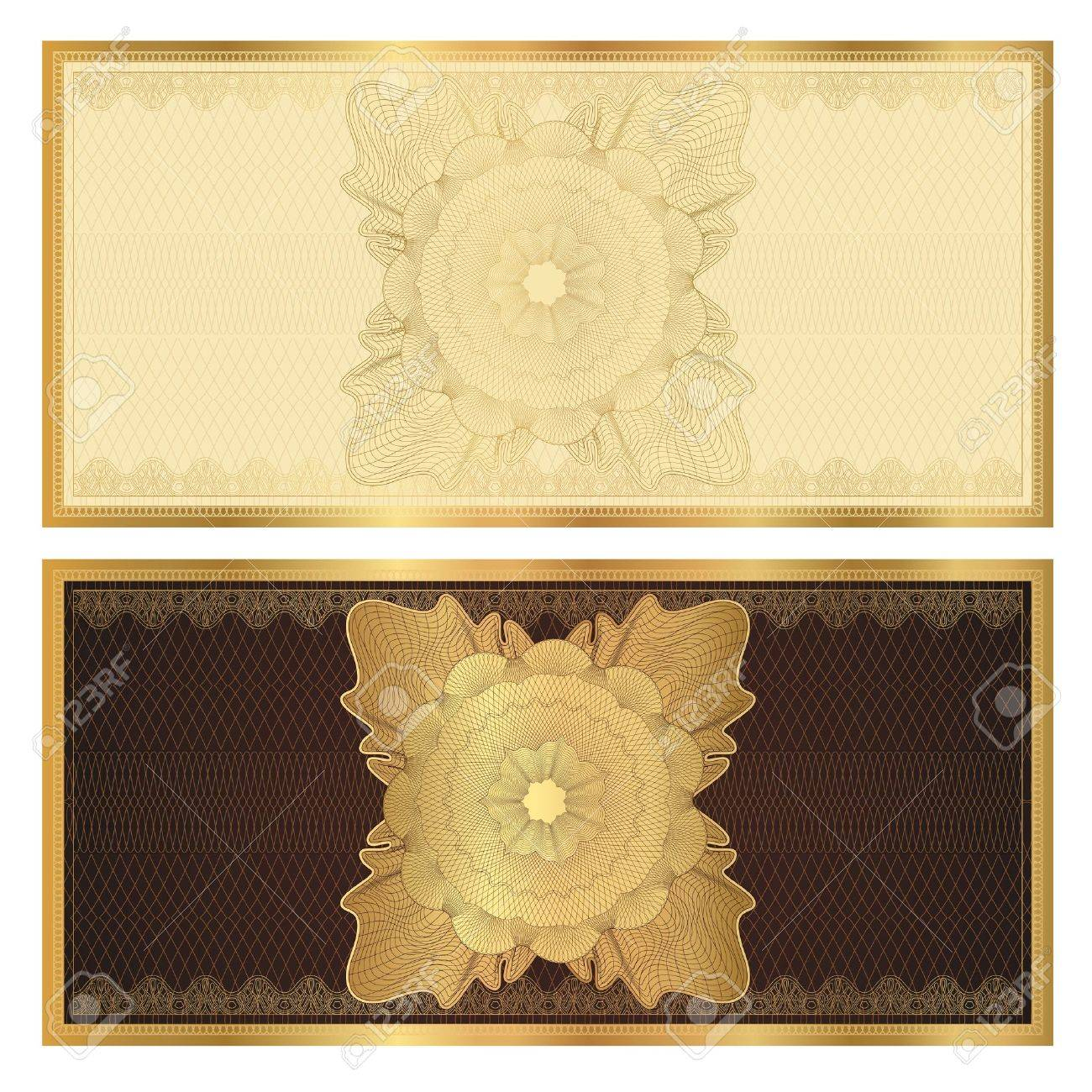 Attractive Gift Certificate Voucher Template With Guilloche Pattern Watermarks And  Border Background Usable For Coupon, Banknote  Money Voucher Template