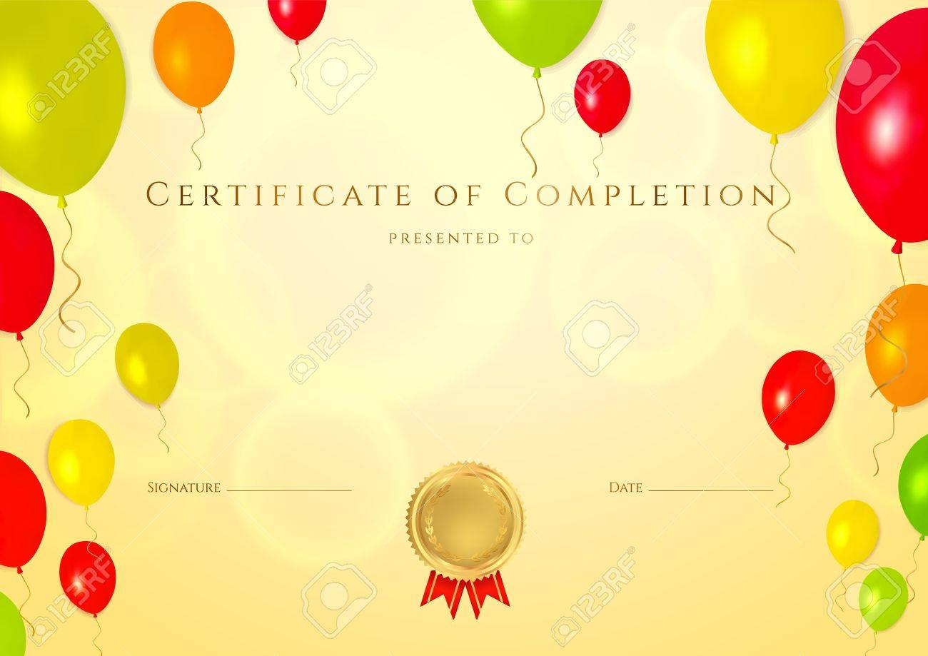 Horizontal golden certificate of completion template with bright horizontal golden certificate of completion template with bright colorful balloons background for children background usable for xflitez Image collections