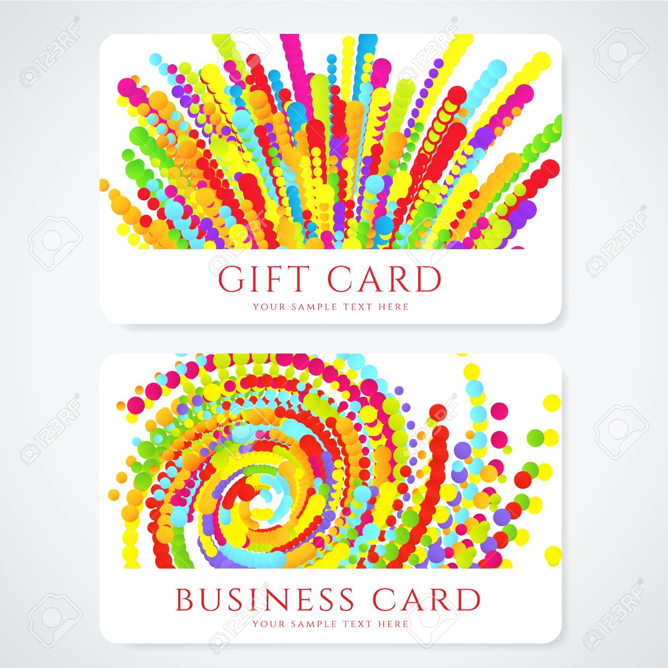 Colorful Business Or Gift Card Template With Abstract Pattern ...
