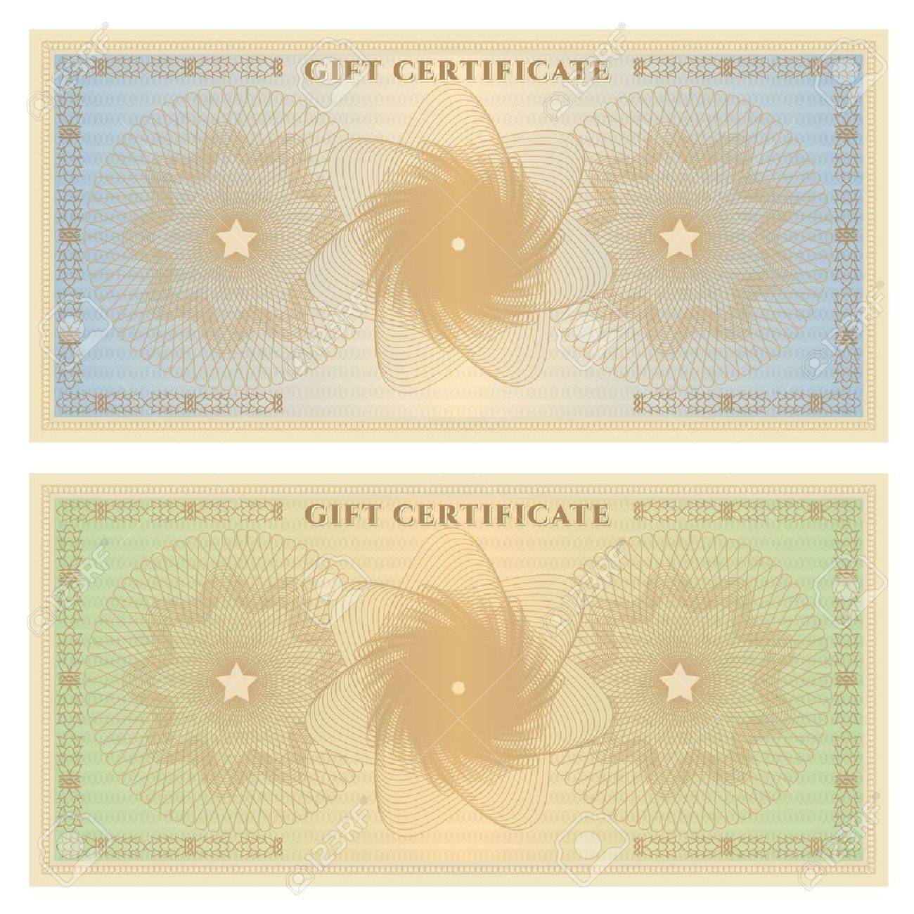 Gift certificate  Voucher  template with guilloche pattern  watermarks  and border  Background for coupon, banknote, money design, currency, note, check in vintage colors  green,blue Stock Vector - 19791173