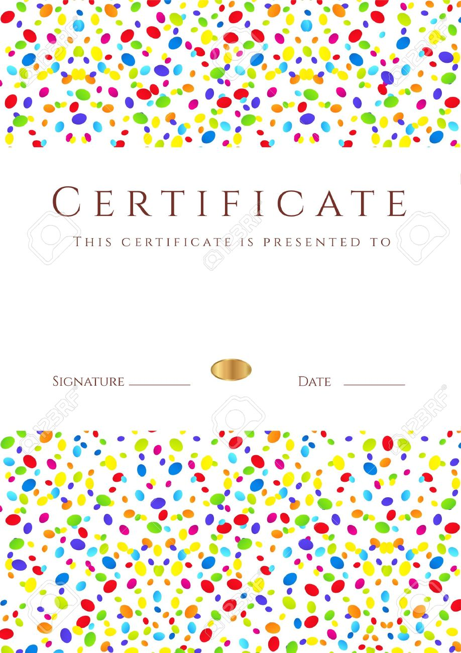 Vertical colorful certificate of completion template for holidays vector vertical colorful certificate of completion template for holidays or children with bright abstract background usable for diploma invitation gift yelopaper Choice Image