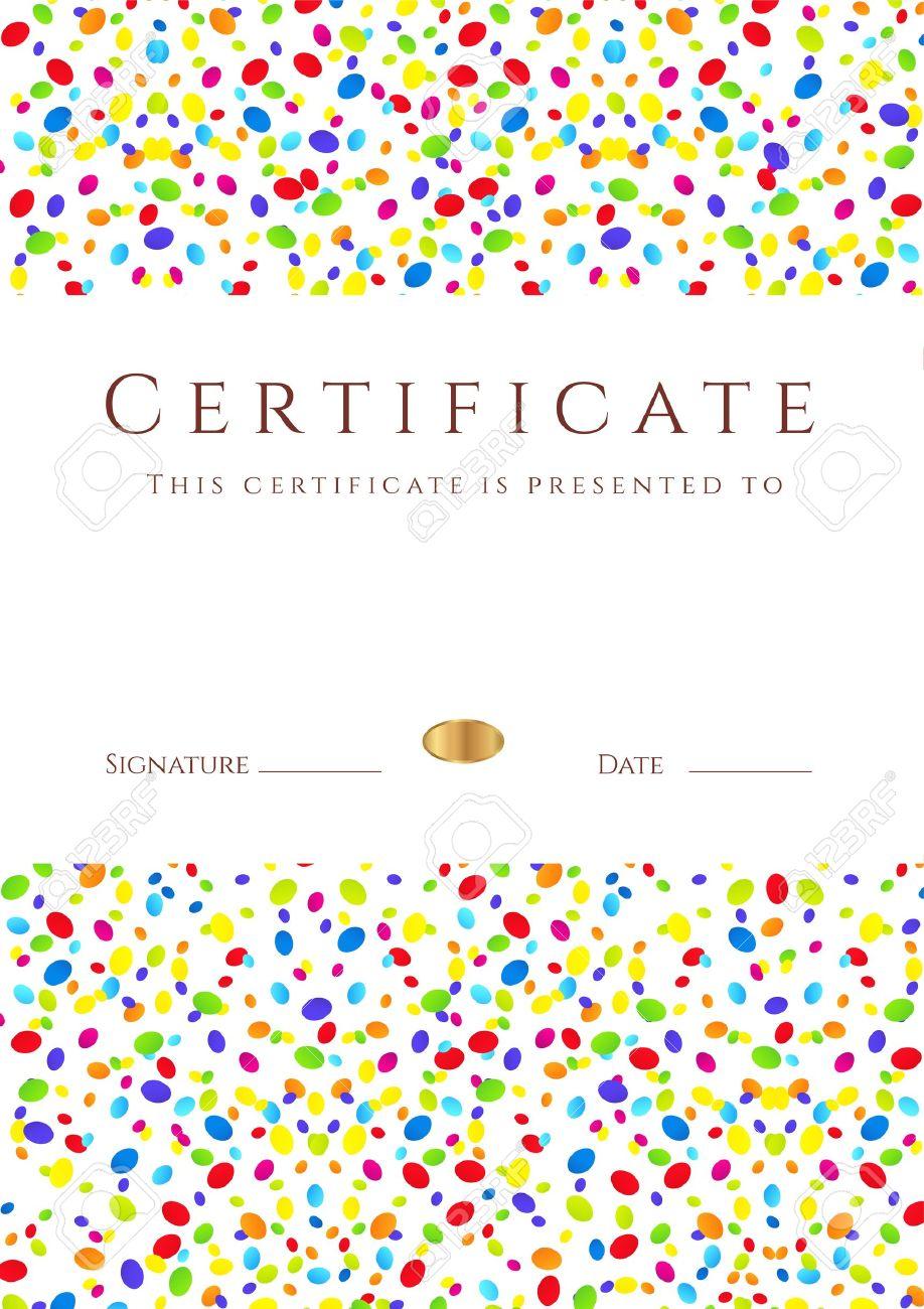 Vertical Colorido Certificado De Plantilla Terminación Para Las ...