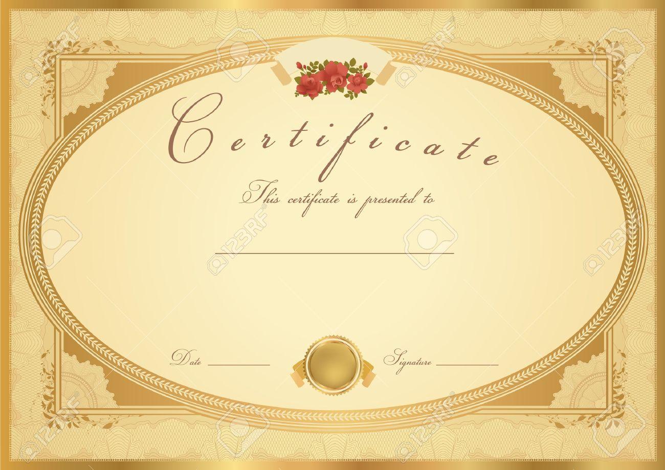 horizontal gold certificate of completion (vorlage) mit, Einladung