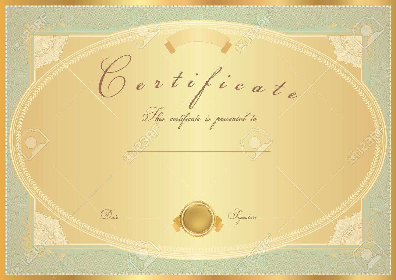 Horizontal gold certificate of completion template with flower horizontal gold certificate of completion template with flower pattern rose golden yelopaper Image collections
