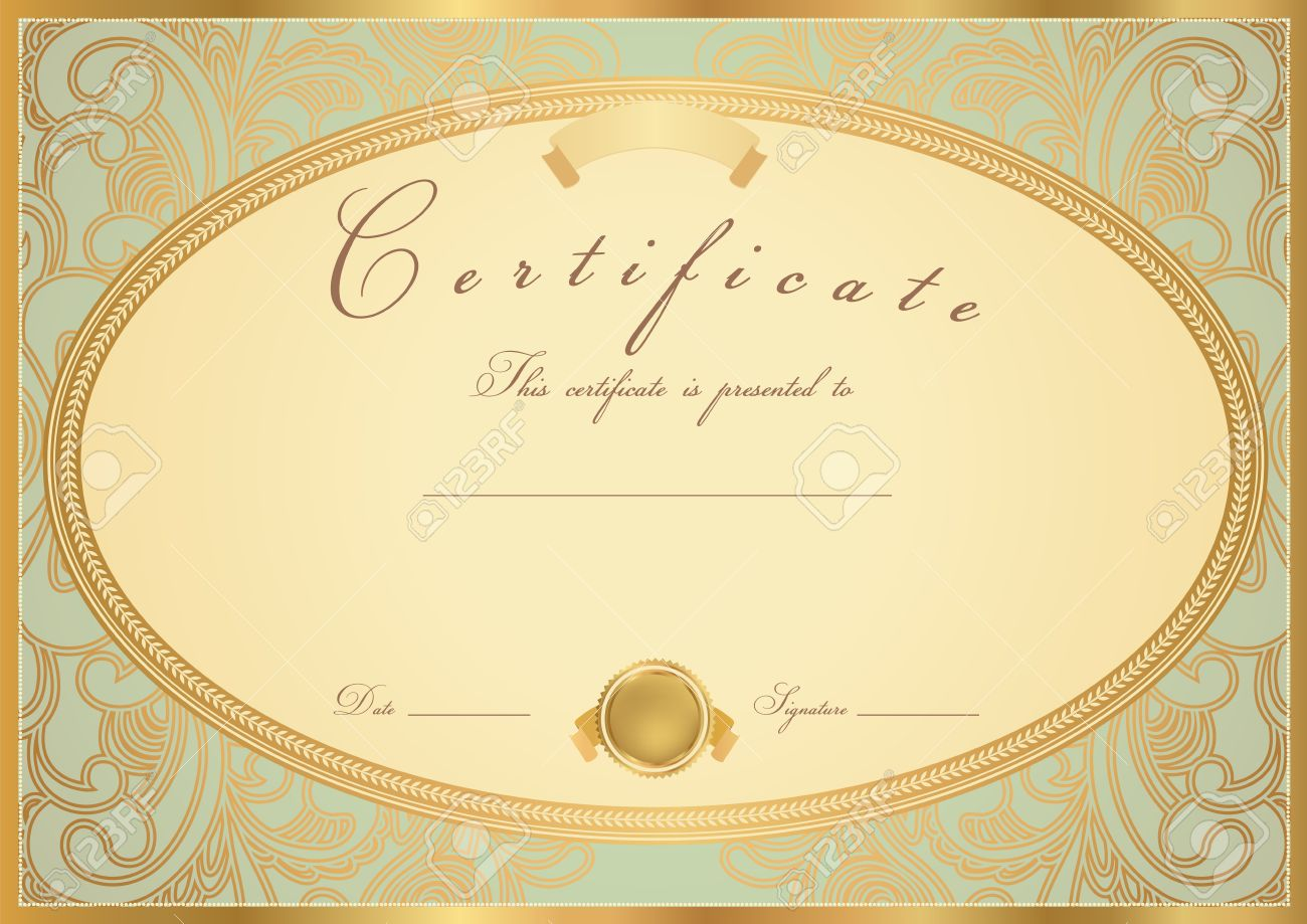 Сертификат об окончании Сертификат Диплом завершения шаблон  Сертификат об окончании Сертификат Диплом завершения шаблон образец фон с цветочным узором прокрутки золотые старинные
