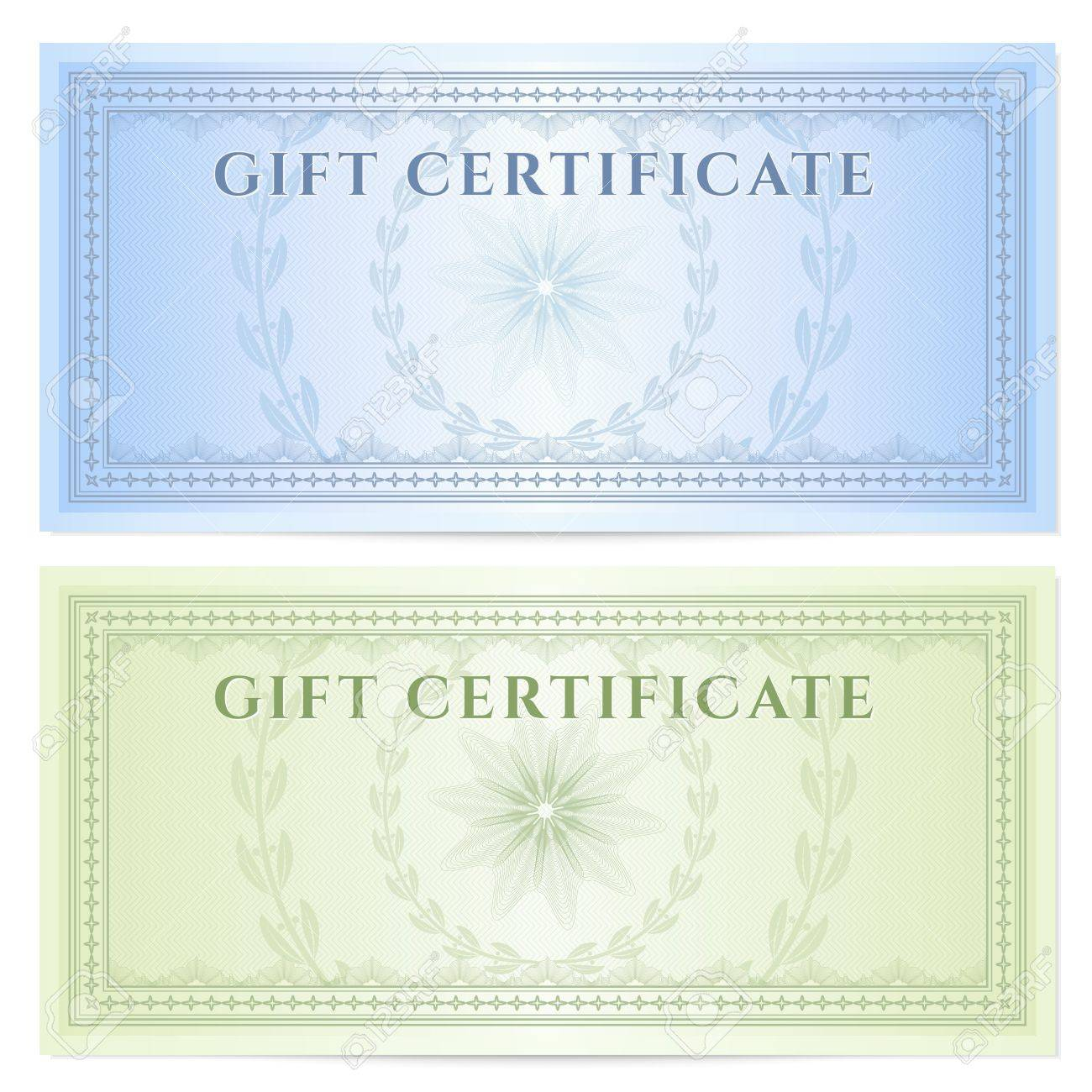 Marvelous Gift Certificate Voucher Template With Guilloche Pattern Watermarks And  Border Background Design For Coupon, Banknote Awesome Design