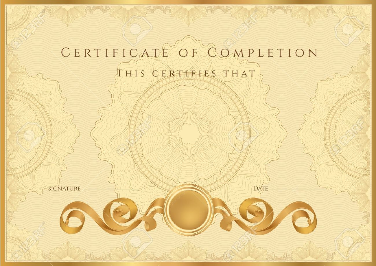 Gold Certificate Diploma Of Completion Design Template Sample – Certificate of Completion Sample