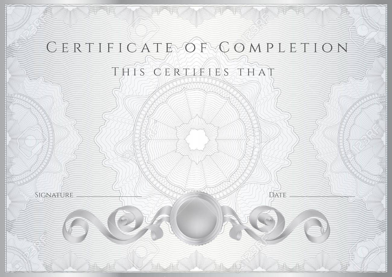 Silver certificate diploma of completion design template silver certificate diploma of completion design template sample background with guilloche pattern watermarks border useful yadclub Gallery